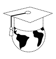 world planet with hat graduation vector image