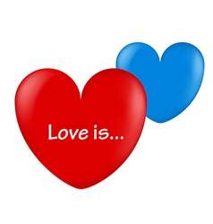 ballon hearts red and blue love is vector image