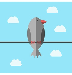 Bird perching on wire vector image vector image