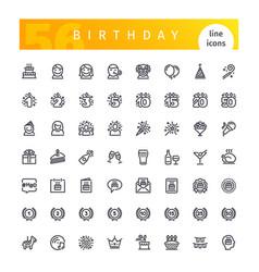 birthday line icons set vector image vector image