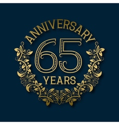 Golden emblem of sixty fifth years anniversary vector image vector image