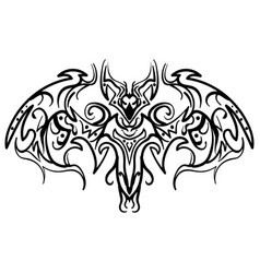 hand drawn decorative ornate doodle bat vector image vector image