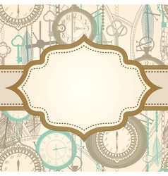 Invitation card with retro frame and clock pattern vector image vector image