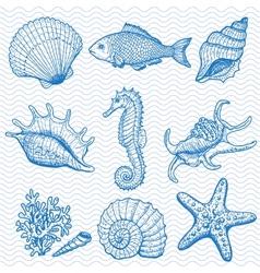 Sea hand drawn vector