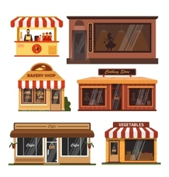 set of store buildings Shops design vector image