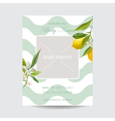 Baby Arrival Card with Photo Frame - Lemon Flowers vector image vector image