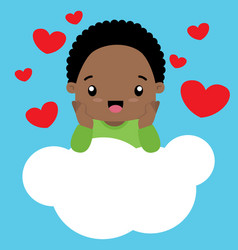cute little black boy in love sitting on a cloud vector image vector image