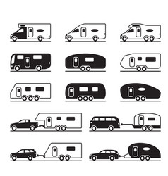 different caravans and campers vector image