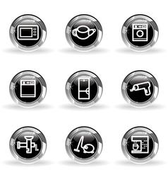 Glossy icon set 32 vector image