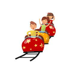 happy people riding on roller coaster in amusement vector image