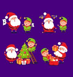 santa claus and elf sets vector image