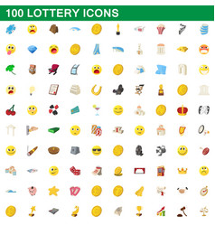100 lottery icons set cartoon style vector image