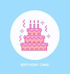 birthday cake line icon logo for bakery vector image