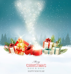 Christmas holiday background with presents and vector image vector image