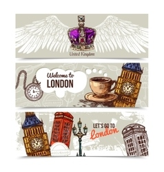 London horizontal banners vector