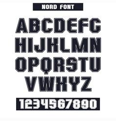 Sans serif font with the contours vector image