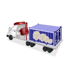 Semi-Trailer Loading Wooden Crates in Container vector image