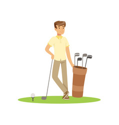 smiling man golfer with golf equipment vector image vector image