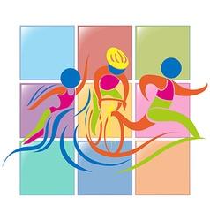 Sport icon design for triathlon vector image