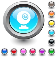 Webcam round button vector image vector image