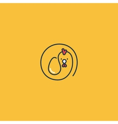 Chicken and egg minimalistic logo vector image vector image