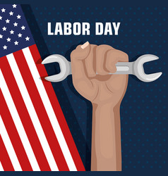 labor day hand fist raised and tool concept vector image