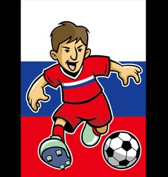 Russian soccer player with flag background vector image vector image