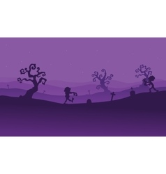 Silhouette of zombie walking in tomb vector image vector image