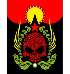 Skull Roses Flowers and star Fantastic Totem vector image