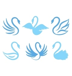 Swan icons or birds icon for natural care eco life vector image vector image