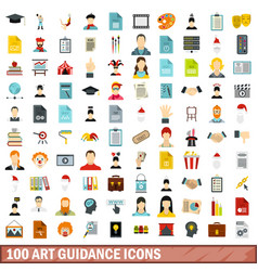 100 art guidance icons set flat style vector