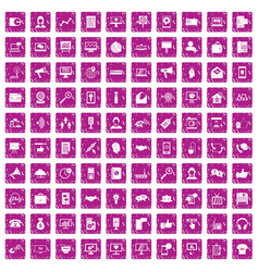100 help desk icons set grunge pink vector