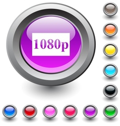 1080p round button vector image
