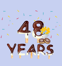 48th years happy birthday card vector image