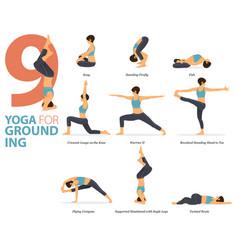 9 yoga poses for yoga grounding concept vector