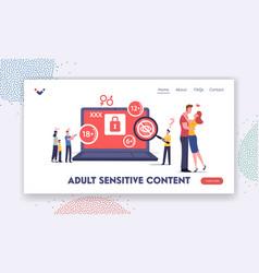 Adult sensitive content landing page template vector