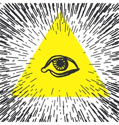 All seeing eye pyramid Freemason and spiritual vector image