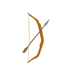 ancient wooden bow with arrow weapon of vector image