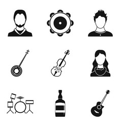 Anniversary concert icons set simple style vector
