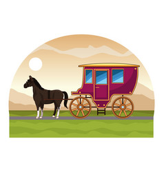 Antique horse carriage animal tractor vector