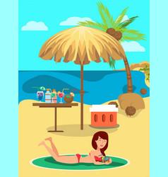 beach relax cartoon color vector image