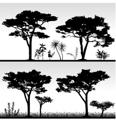 Big tree silhouette scenery artwork of real vector