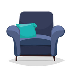 Blue armchair and pillow vector