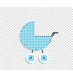 blue clip art stroller for scrapbook or baby boy vector image