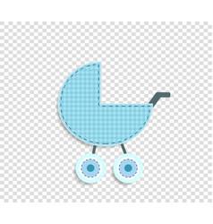 Blue clip art stroller for scrapbook or baby boy vector