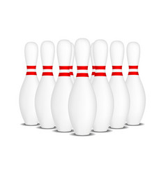 Bowling pins with stripes standing in formation vector