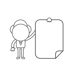 businessman character holding blank paper black vector image