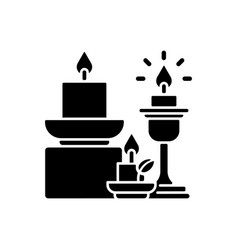 candles and candle holders black glyph icon vector image