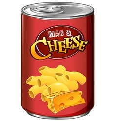 Canned mac and cheese on white vector
