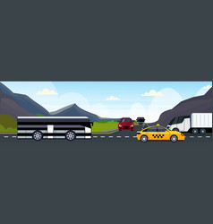cars passenger bus and semi truck driving asphalt vector image
